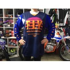 Футболка для мотокросса FLY RACING KINETIC K220 синяя/сиреневая/оранжевая (2020)