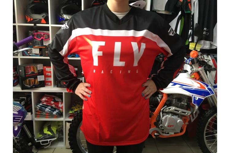 Футболка для мотокросса FLY RACING F-16 красная/чёрная/белая (детская) (2020)