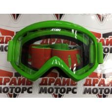 Очки для мотокросса ATAKI HB-319 зеленые глянцевые