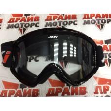 Очки для мотокросса ATAKI HB-319 черные глянцевые