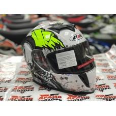 Шлем (интеграл) Ataki FF311 Skull белый/черный/желтый глянцевый