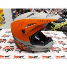 Шлем (кроссовый) FLY RACING KINETIC STRAIGHT EDGE оранжевый/серый матовый (2021)