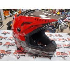 Шлем (кроссовый) FLY RACING KINETIC STRAIGHT EDGE красный/черный/серый (2021)