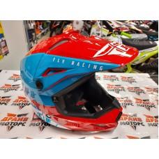 Шлем (кроссовый) FLY RACING KINETIC STRAIGHT EDGE красный/белый/синий (2021)